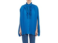 Balenciaga Women's Pleated Crepe Blouse Blue