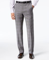 Sean John Classic Fit Stretch Gray Purple Windowpane Plaid Suit Pants Grey