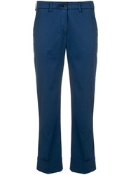 Fay Cropped Mid Rise Trousers Blue
