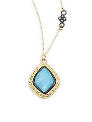 Armenta Old World Champagne Diamond Blue Turquoise Rainbow Moonstone And 18K Goldplated Sterling Silver Pendant Necklace