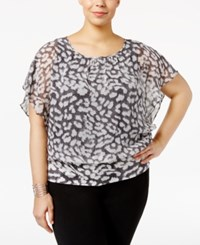 Jm Collection Plus Size Printed Butterfly Sleeve Top Only At Macy's Denim Cheetah