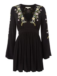 Little White Lies Embroided Long Sleeve Mini Dress Black
