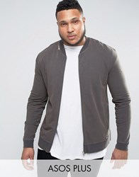 Asos Plus Muscle Fit Jersey Bomber Jacket With Distressing In Black Black Olive