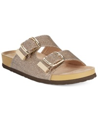White Mountain Horizon Footbed Sandals Women's Shoes Gold Glitter