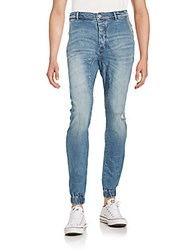 Zanerobe Distressed And Faded Cotton Blend Jeans Blue