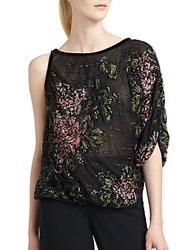 Giorgio Armani Silk Chiffon Sequin Embroidered Blouse Black Multi