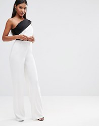 Vesper Off Shouder Jumpsuit Cream Black