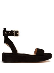 Gianvito Rossi Suede Flatform Sandals Black