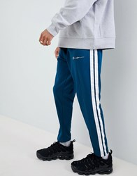 Mennace Skinny Joggers With Taping In Teal Green