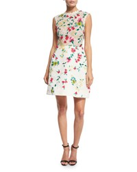Monique Lhuillier Strapless Floral Lace Cocktail Dress White Multi