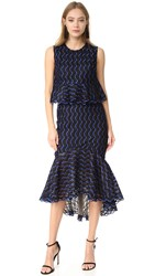 Lela Rose Ruffle Skirt Dress Lapis Black