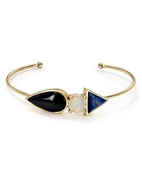 Jules Smith Designs Jules Smith Three Stone Bangle Yellow Gold Lapis Opal Black
