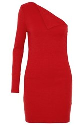 W118 By Walter Baker One Shoulder Paneled Ribbed Knit Mini Dress Red