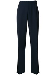 Carven Straight Trousers Women Polyester Acetate Viscose 38 Blue