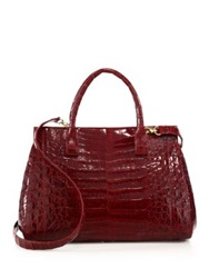 Nancy Gonzalez Soft Medium Crocodile Tote Red Kelly Green Black