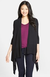 Petite Women's Caslon Cotton Blend Open Front Cardigan Black