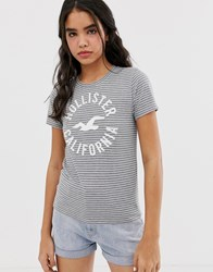 Hollister T Shirt With Classic Logo In Stripe Grey