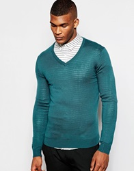 United Colors Of Benetton Knitted V Neck Jumper Teal3a9