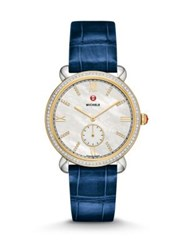Michele Gracile Diamond 18K Goldplated Stainless Steel And Alligator Strap Watch Gold Blue
