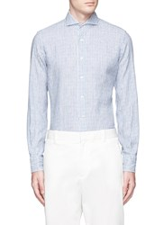Lardini French Collar Stripe Linen Shirt Blue