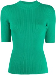 Ymc Short Sleeved Knitted Top Green