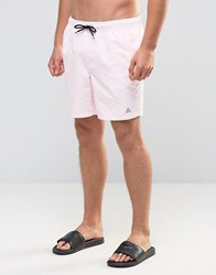 Asos Swim Shorts In Pink With Triangle Logo Print Mid Length Pink