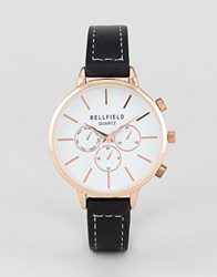 Bellfield Chronograph Watch With Gold Case And Black Strap