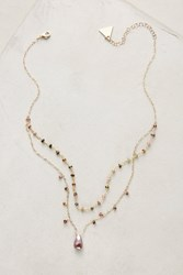 Anthropologie Layered Stone Necklace Pink