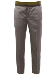 Haider Ackermann Contrasting Waistband Cropped Trousers Grey
