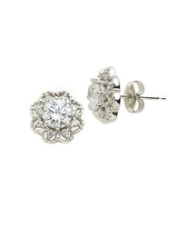 Lord And Taylor Platinum Plated Pave Flower Stud Earrings Silver