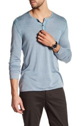 John Varvatos Long Sleeve Henley Pullover Blue