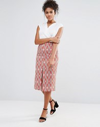 Glamorous Print Midi Skirt Red White Aztec Multi