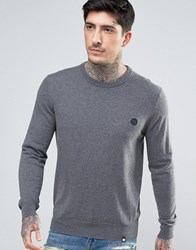 Pretty Green Crew Jumper Slim Fit Small Logo In Charcoal Charco Grey