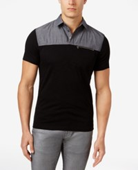 Inc International Concepts Men's Colorblocked Cotton Polo Only At Macy's Deep Black