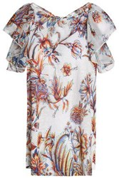 Just Cavalli Ruffled Printed Slub Linen Blend Top Off White Off White