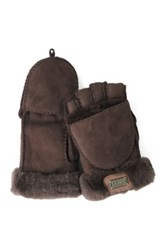 Australia Luxe Collective Genuine Shearling Trim Convertible Mitt Brown