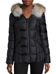 Dawn Levy Niki Fur Trim Hooded Down Puffer Jacket Eggplant Black