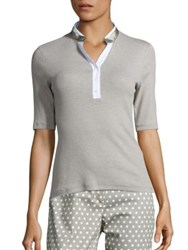 Peserico Cotton And Silk Ribbed Henley Shirt Beige White