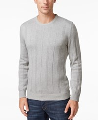 John Ashford Men's Crew Neck Striped Texture Sweater Only At Macy's Light Grey Heather