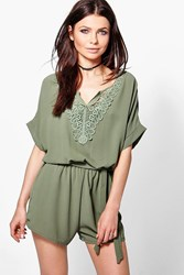 Boohoo Crochet Trim Playsuit Khaki