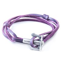 Anchor And Crew Union Leather And Silver Bracelet Purple
