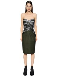 Salvatore Ferragamo Hand Printed Cotton Poplin Bustier Dress