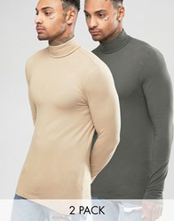 Asos Extreme Muscle Long Sleeve T Shirt With Roll Neck 2 Pack Tan Khaki Multi