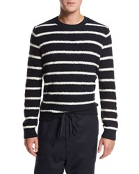 Vince Textured Stripe Crewneck Sweater Navy