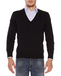 Tomas Maier Cashmere V Neck Sweater Navy