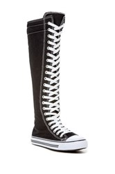 West Blvd Shoes Lace Up Knee High Sneaker Boot Black