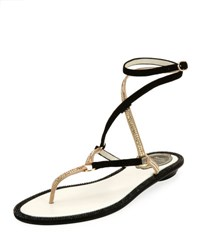 Rene Caovilla Flat Two Tone Crystal Ankle Wrap Sandal Black Pattern