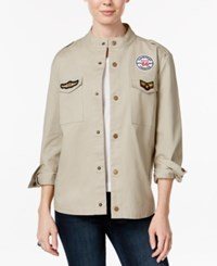 7 Sisters Juniors' Cotton Patched Military Jacket Khaki