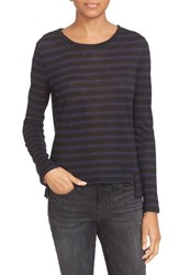 Frame Women's Long Sleeve Linen Tee Navy Noir Stripe
