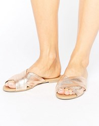 New Look Leather Cross Strap Flat Sandal Rose Gold